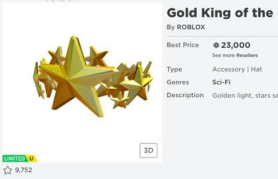 Roblox Clean Robux Limiteds Limiteds(Gold King of the
