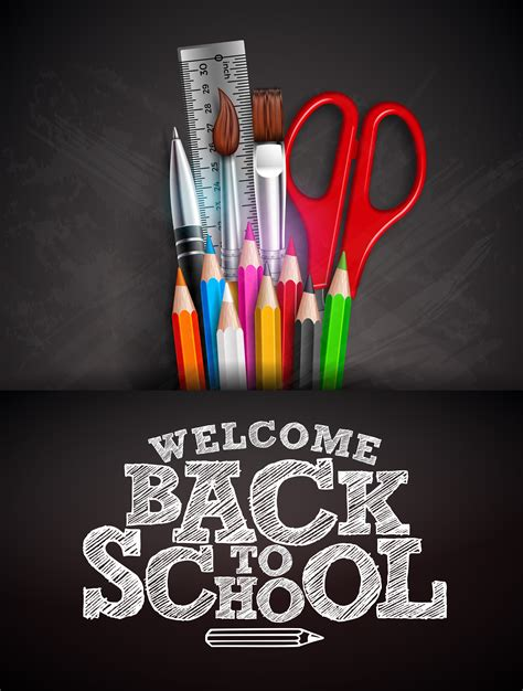 Back to school design with colorful pencil, pen and