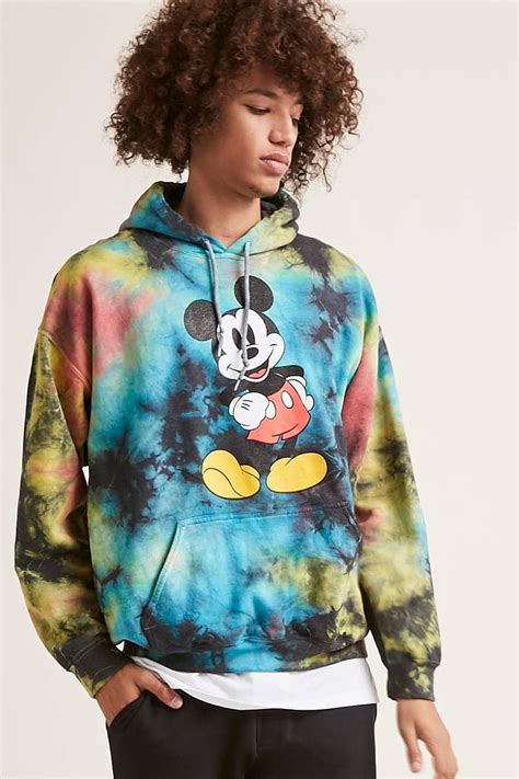 Forever 21 Fleece Mickey Mouse Graphic Tie-dye Hoodie in
