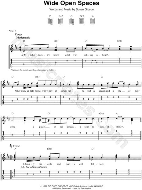 """The Dixie Chicks """"Wide Open Spaces"""" Guitar Tab in D Major"""