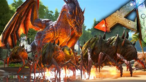Ark Survival Evolved - Dragon VS Broodmother Army Gameplay