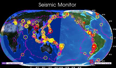 Seismic Monitor - Recent earthquakes on a world map with