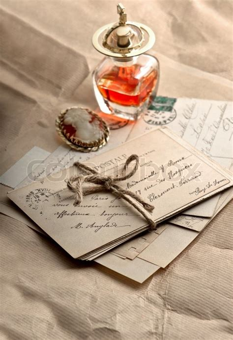 Old letters, postcards and vintage accessories