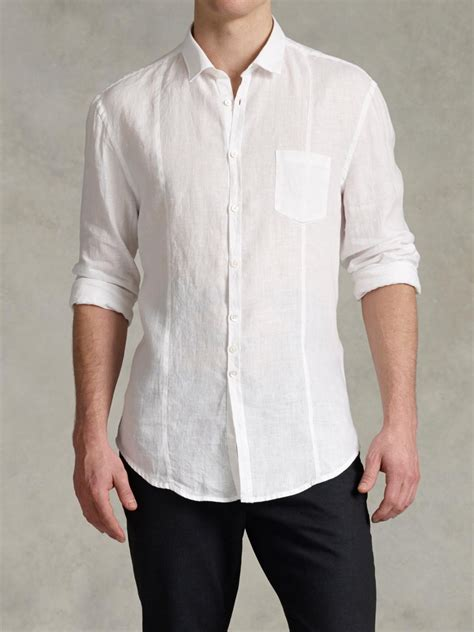 John Varvatos Slim Fit Linen Button-up Shirt in White for