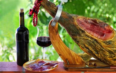 Jamon of spain and red wine | Stock Photo | Colourbox