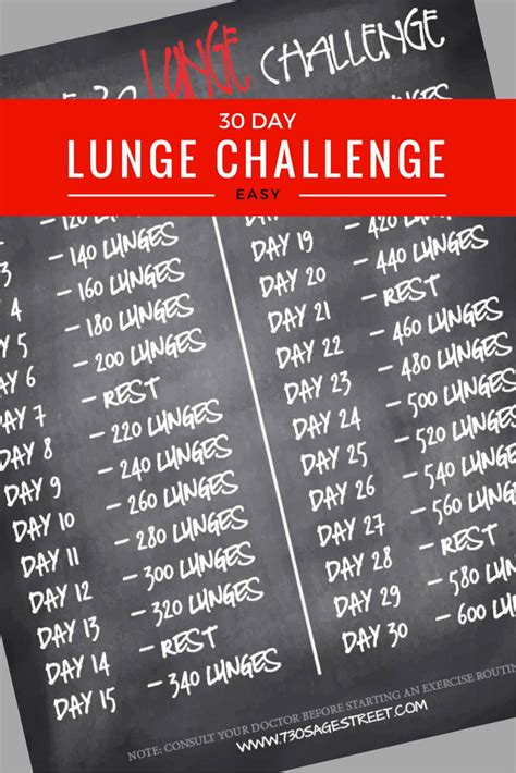 30 Day Lunge Challenge for Beginners - 730 Sage Street