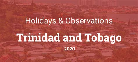 Holidays and observances in Trinidad and Tobago in 2020